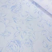 Твк для напірників з голубими контурами квітів на блідо-блакитному, ширина 150 см
