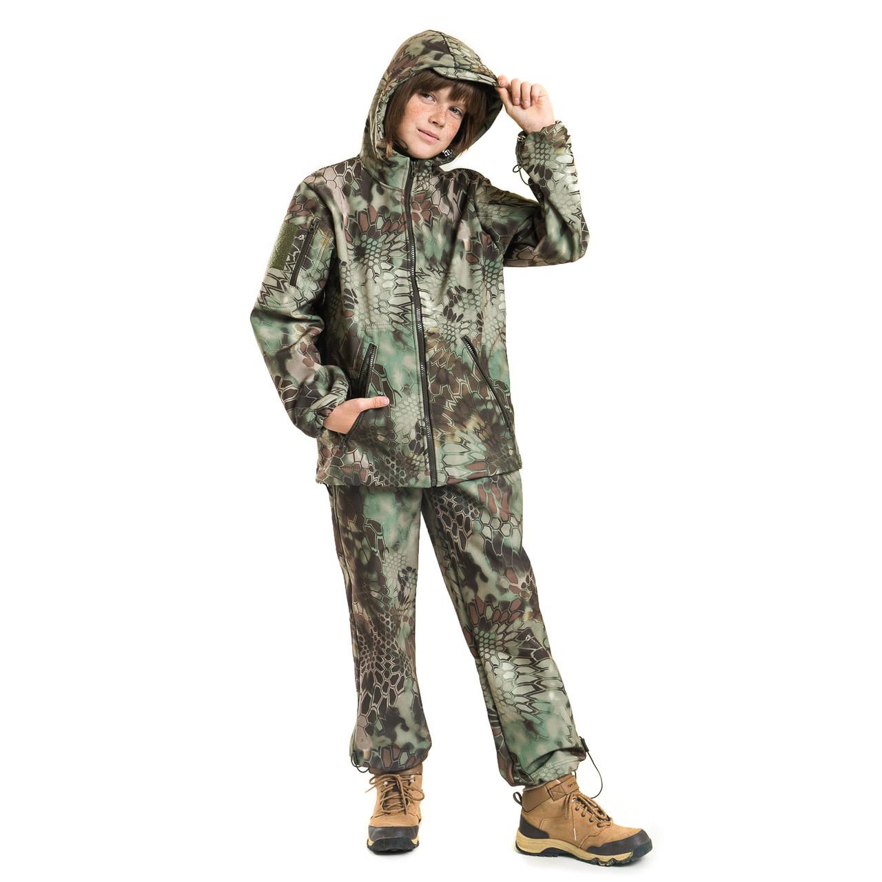 Детский камуфляж костюм OUTDOOR теплый Вулкан Soft-Shell Kryptek