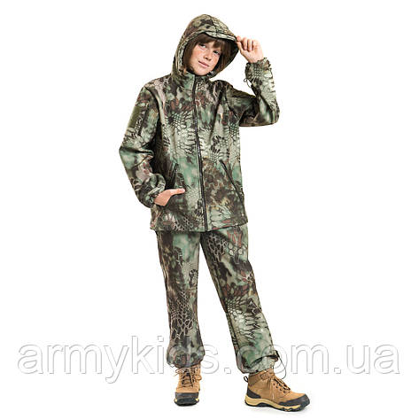 Детский камуфляж костюм OUTDOOR теплый Вулкан Soft-Shell Kryptek, фото 2