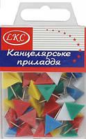 """Кнопки канцелярские цветные """"Треугольник"""" 40 шт в упаковке"""