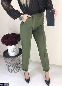 Женские прямые осенние с завышенной талией брюки с карманами по бокам (3 цвета)