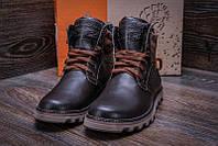 Высокие зимние мужские ботинки натуральная кожа черные Levis Stage 1 Chocolate