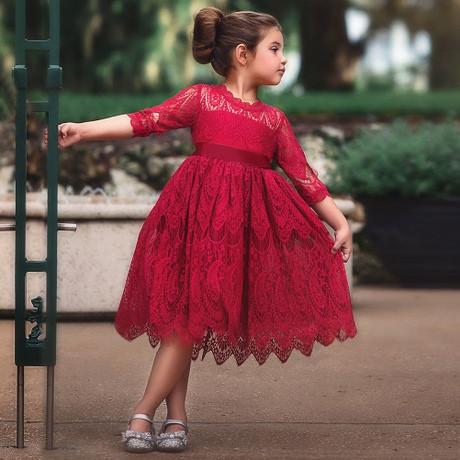 Платье нарядное детское кружевное на девочку длинный рукав красное 3-года