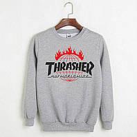 Мужской зимний спортивный свитшот на флисе, кофта Thrasher Worldwide, Реплика
