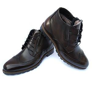 Ботинки мужские зимние Украина: кожаные, коричневого цвета, на меху, фабрики L-style Львов