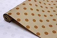 Упаковочная крафт бумага для цветов и подарков с рисунком 65см*10м УП - Горох коричневый на буром