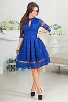 Нарядное женское платье ЕСЕНИЯ с приталенным верхом и пышной юбкой из гипюра цвета электрик. Арт-7541/7, фото 1