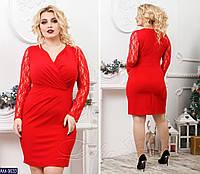 Женское короткое осеннее с декольте мини платье с вставками на рукавах из гипюра  2 цвета (батал)