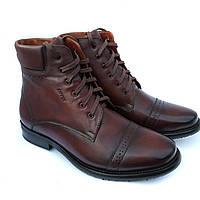 Зимние высокие классические мужские бордовые ботинки на натуральном меху от фабрики Kepper Бровары Киев