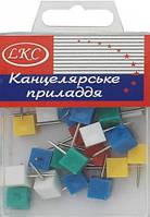 """Кнопки канцелярские цветные """"Кубик"""" 30 шт в упаковке"""