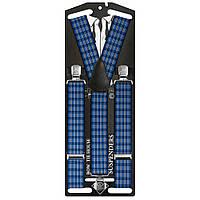 Подтяжки Bow Tie House галстучные синие в клетку  06148