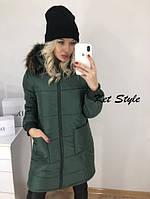 Длинная куртка женская с меховым капюшоном и карманами