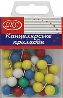 """Кнопки канцелярские цветные  """"Шарик большой"""" 40 шт в упаковке"""