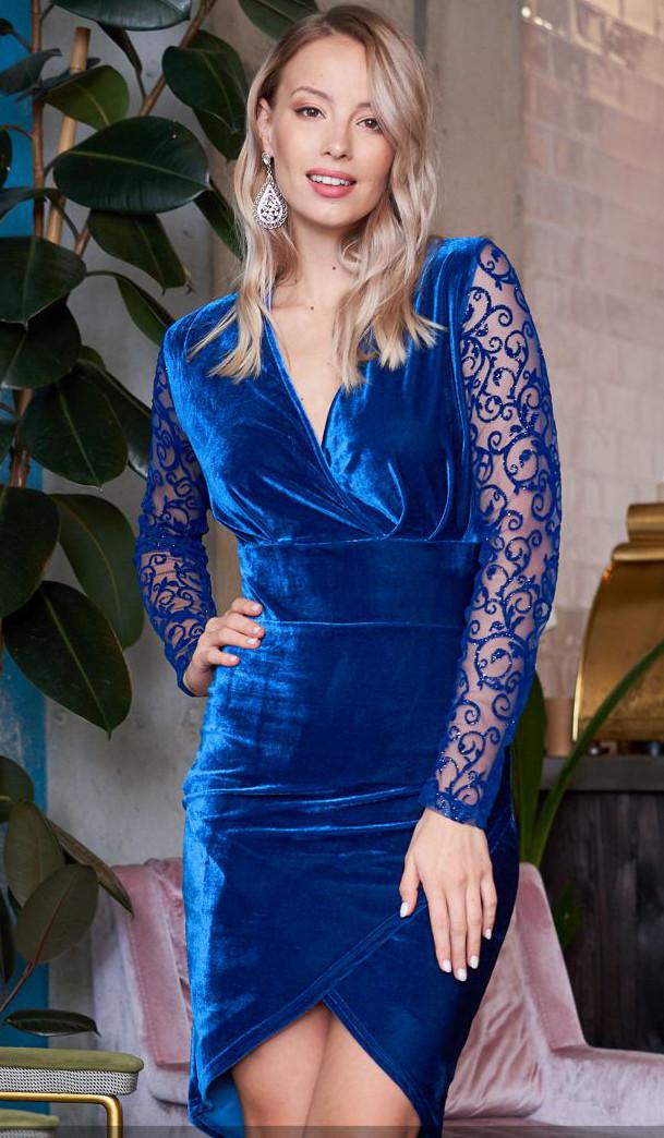 f527e57544fc682 Бархатное вечернее платье синего цвета с длинным рукавом из гипюра. Модель  19997. Размеры 42
