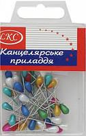 Булавки декоративные цветные 50 шт в упаковке