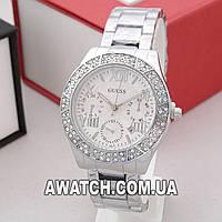 Женские кварцевые наручные часы Guess A59 / Гесс на металлическом браслете серебристого цвета