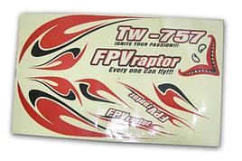 Комплект наклеек самолёта VolantexRC FPVRaptor 1600мм (V-757-Dec)