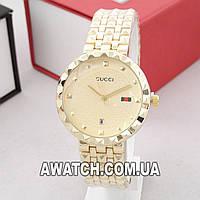 Женские кварцевые наручные часы Gucci A96 / Гуччи на металлическом браслете золотистого цвета