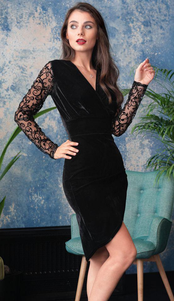 b7f8082f43f Размеры 42 · Бархатное вечернее платье черного цвета с длинным рукавом из  гипюра. Модель 20030.