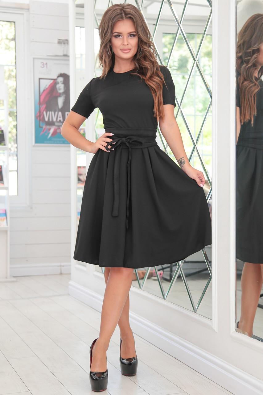 26049b9b784 Черное нарядное женское платье ФРИДА с приталенным верхом и расклешенной  юбкой из замша. Арт-