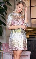 Вечернее платье с пайетками с рукавом 3/4. Модель 19999. Размеры 42-46 44, Разные цвета