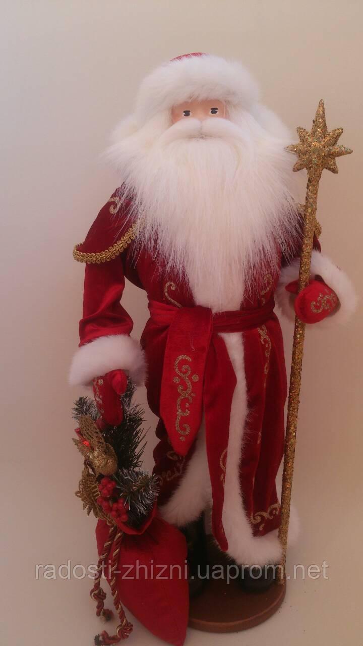Дед Мороз (под елку) 53 см красный в золоте