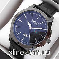 Мужские наручные часы Gucci T38 на кожаном ремешке