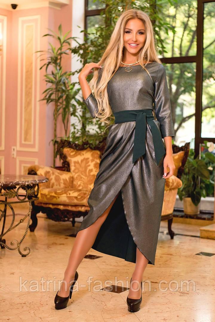 Женское платье с напылением и поясом (3 цвета)