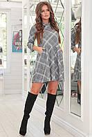 Молодежное серое короткое женское платье клетка свободного кроя. Арт-7547/7, фото 1