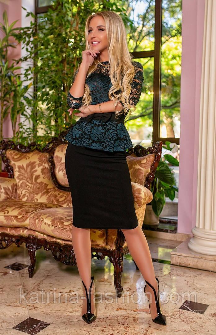 Женский костюм баская гипюровая и юбка-карандаш (3 цвета)
