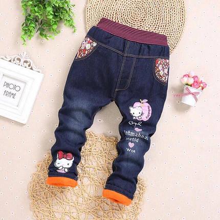 Джинсы детские на девочку утепленные синтепон + плюш синие осень-зима зайка, фото 2