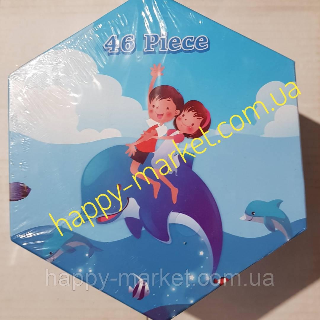 Набір для дитячої творчості Діти,дельфін (46 предметів) шестигранний