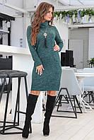 Теплое элегантное изумрудное женское ангоровое платье миди . Арт-7549/7, фото 1
