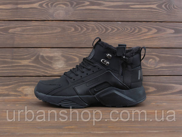 Кросівки Nike Air HUARACHE FOUR S 4 HIGH CITY BE X ACRONYM FULL BLACK ХУТРО.
