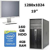 HP 6000 Pro MT / Intel® Core™2 Duo E7500 (2 ядра по 2.93GHz) / 4 GB DDR3 / 160 GB HDD + Монитор Fujitsu-Siemens B19-6 LED / 19'' / 1280х1024 /