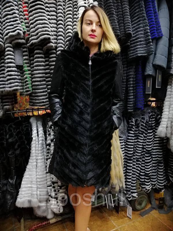 Норковое зимнее пальто с кожаными рукавами и капюшоном, шуба 2в1, шубка, норочка - Elposhuk  в Сумской области