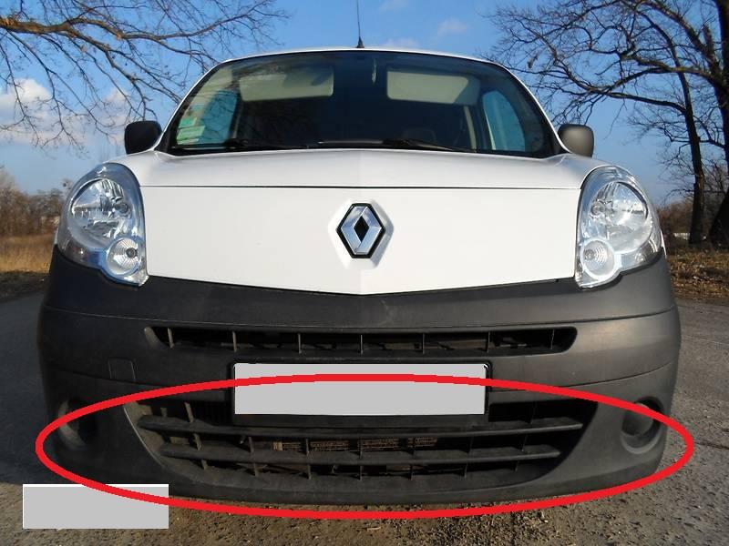 """Зимняя накладка Renault Kangoo 08-13 Бампер нижний широкий """"FLY"""" Мат"""