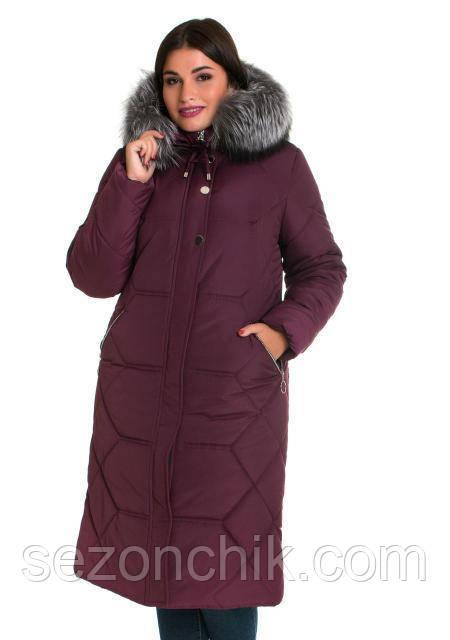 Зимний красивый женский пуховик с натуральной чернобуркой на капюшоне