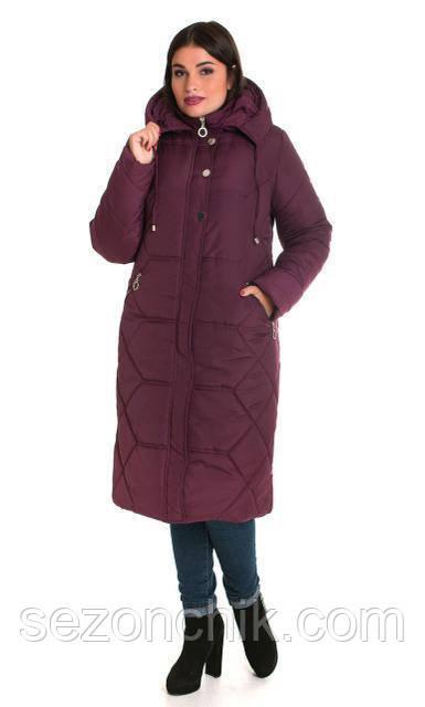 Красивое удлиненное пальто женское зимнее большие размеры