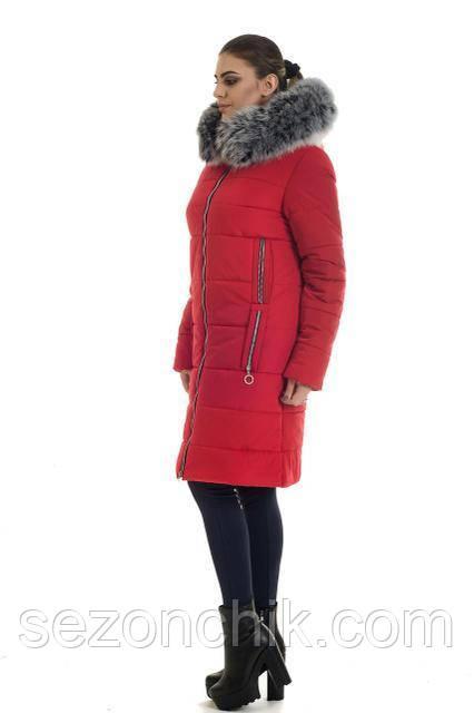 Зимнее женское пальто удлиненное с натуральным мехом на капюшоне интернет магазин