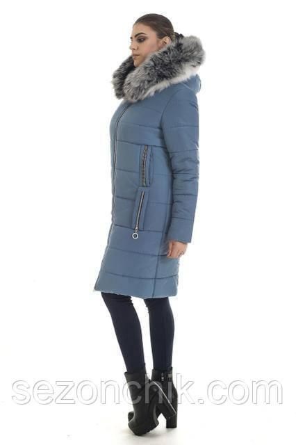 Красивая женская куртка пуховик с натуральным мехом очень теплая