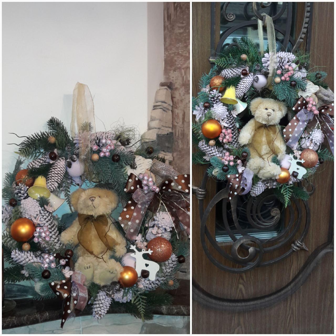"""Пышный веночек """"Мечты медвежонка"""" с мягкой игрушкой к рождеству, натуральные материалы, 50 см., 750 гр."""