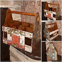 Деревянный ящик под 6 бутылок пива, 28.5х17.5х26.5 см., 480/450 (цена за 1 шт. + 30 гр.)