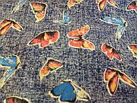 """Джинсовая ткань """"Бабочки"""""""