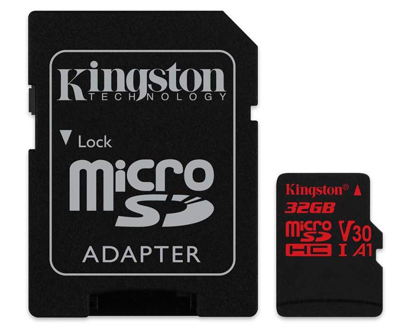Карта памяти microSDHC, 32Gb, Class10 UHS-I, Kingston R-100MB/s, W-80MB/s, SD адаптер (SDCR/32GB)