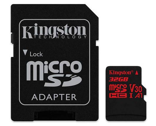 Карта памяти microSDHC, 32Gb, Class10 UHS-I, Kingston R-100MB/s, W-80MB/s, SD адаптер (SDCR/32GB), фото 2
