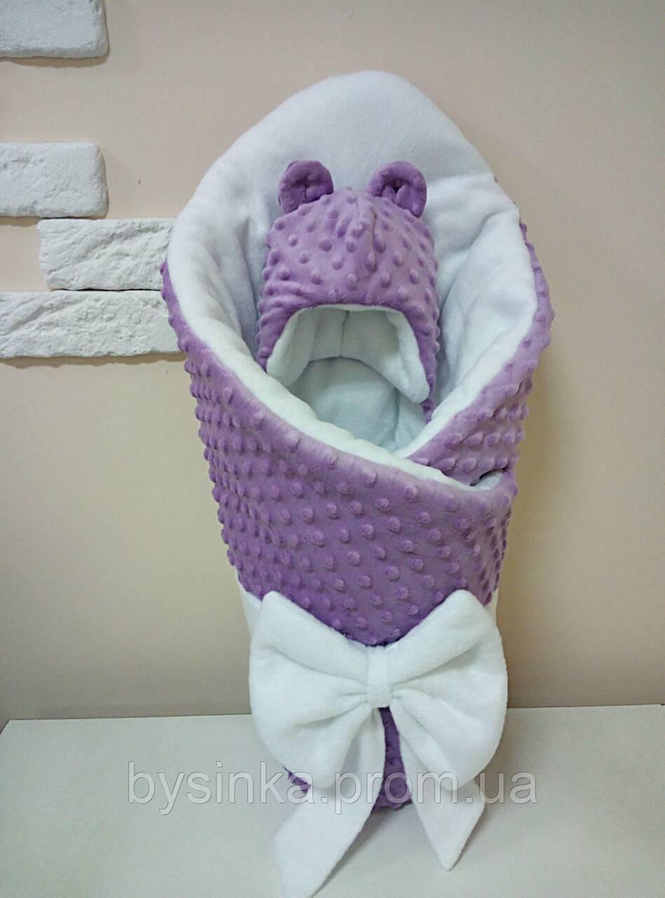 Конверт-плед плюшевый 80*100 см без шапочки для новорожденного