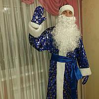 Новогодний костюм Деда Мороза велюровый принт снежинка синий., фото 1