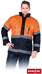 Куртка зимова з світловідбиваючими смужками робоча Reis Польща (сигнальна спецодяг) BLUE-ORANGE-J PG