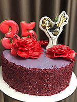 Торт на за с пряничными топперами, цветами  из вафельной бумаги, фото 1